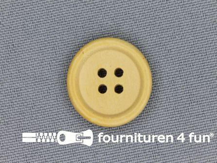 Houten knoop 19mm rand licht