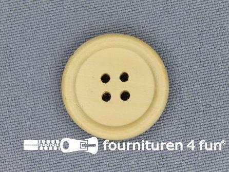 Houten knoop 23mm rand licht