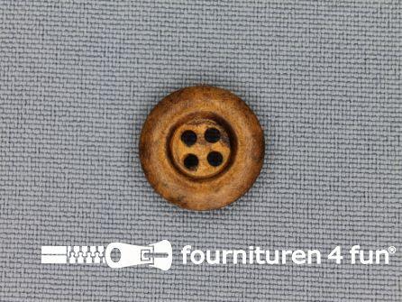 Houten knoop 15mm rand donker