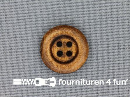 Houten knoop 17mm rand donker