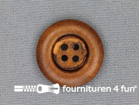 Houten knoop 23mm rand donker