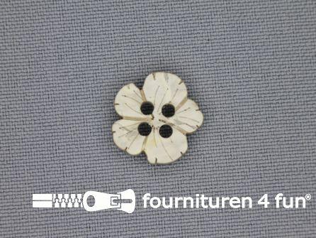 Houten knoop 15mm kokos bloem