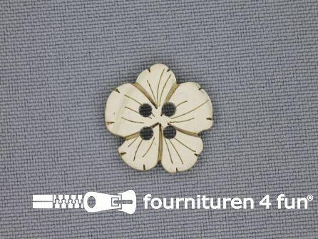 Houten knoop 17mm kokos bloem