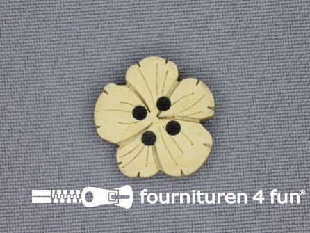 Houten knoop 19mm kokos bloem