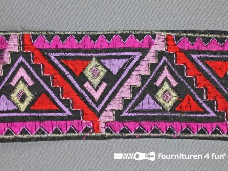 COUPON Jacquard band 70mm fuchsia roze - rood 1.95 meter