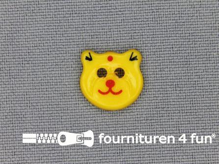 Kinder knoop 13mm beertje geel