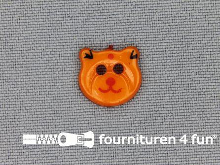 Kinder knoop 13mm beertje oranje