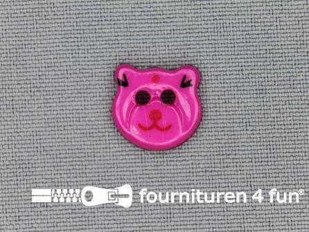 Kinder knoop 13mm beertje fuchsia roze