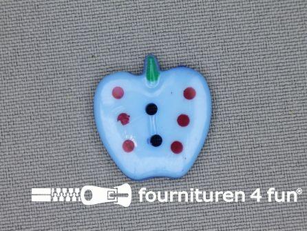 Kinder knoop 21mm appel licht blauw