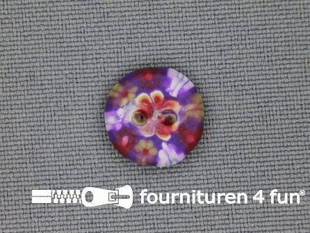 Ibiza knoop 13mm paars - geel - rood