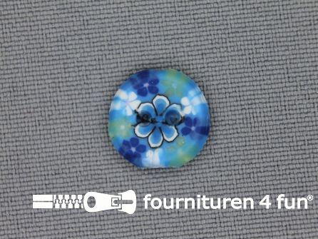 Ibiza knoop 13mm blauw - wit - geel