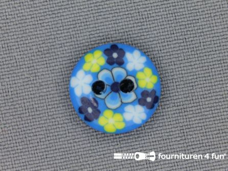 Ibiza knoop 15mm blauw - wit - geel
