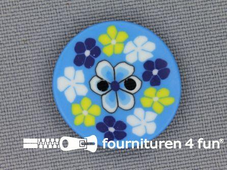 Ibiza knoop 21mm blauw - wit - geel