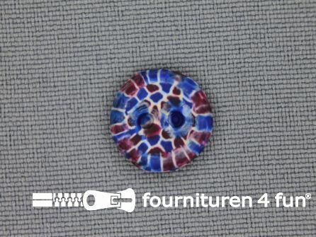 Ibiza knoop 13mm blauw - bruin - wit