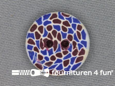 Ibiza knoop 21mm blauw - bruin - wit