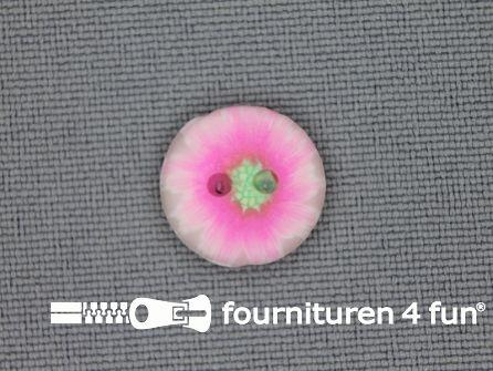 Ibiza knoop 13mm wit - neon roze - groen