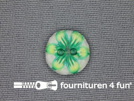 Ibiza knoop 13mm wit - lime groen - geel