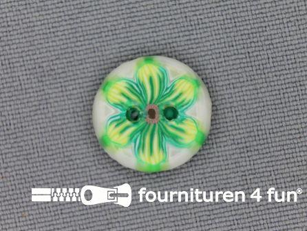 Ibiza knoop 15mm wit - lime groen - geel