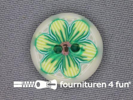 Ibiza knoop 21mm wit - lime groen - geel