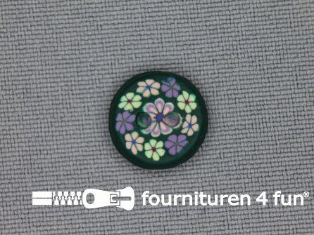 Ibiza knoop 13mm groen - paars - licht roze