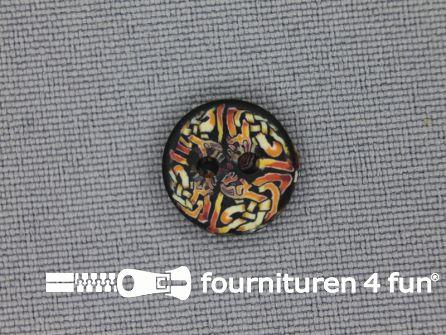 Ibiza knoop 13mm bruin - zwart - geel