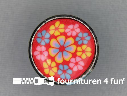 Metalen ibiza knoop 20mm bloem rood