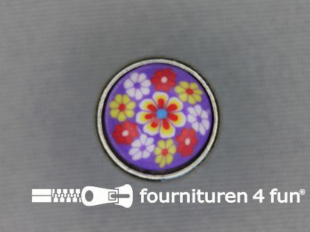 Metalen ibiza knoop 15mm bloem paars