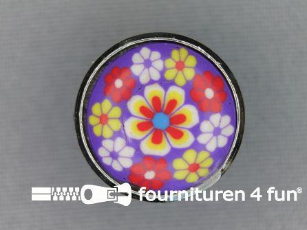 Metalen ibiza knoop 20mm bloem paars