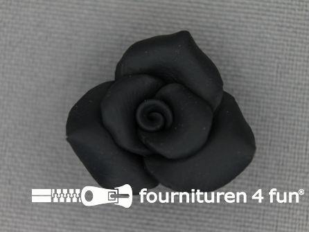 Bloemen knoop 21mm roosje zwart