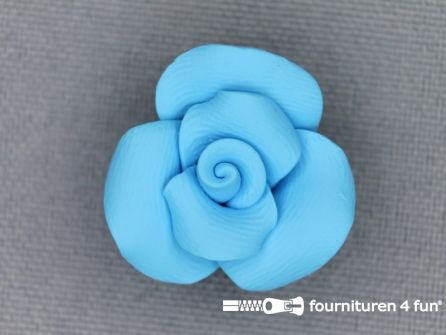 Bloemen knoop 10mm roosje aqua blauw