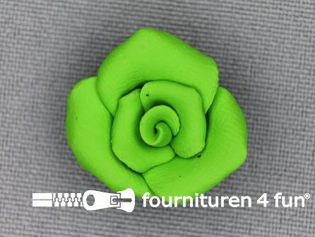 Bloemen knoop 10mm roosje lime groen