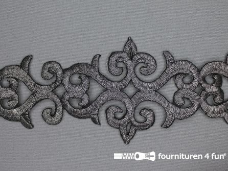 Barok applicatie 80mm zwart zilver - per meter