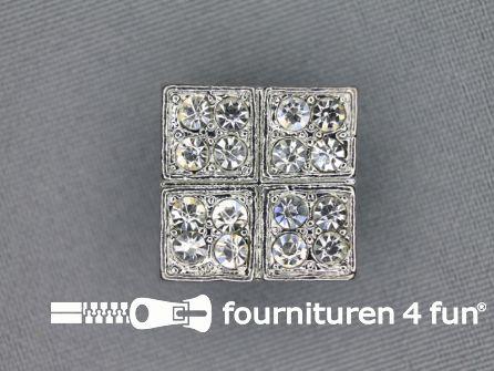 Strass stenen knoop 20mm vierkant zilver