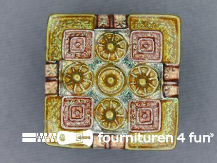 Strass stenen knoop 22mm vierkant goud geel - zalm