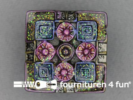 Strass stenen knoop 22mm vierkant groen - roze