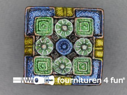 Strass stenen knoop 22mm vierkant blauw - groen