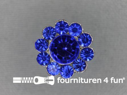 Strass stenen knoop 16mm kobalt blauw