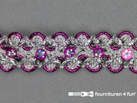 Pailletten band 28mm zilver - fuchsia roze