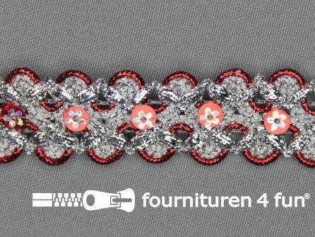Pailletten band 30mm zilver - rood