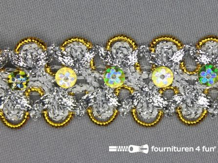 Pailletten band 30mm zilver - goud geel