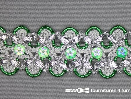 Pailletten band 30mm zilver - gras groen