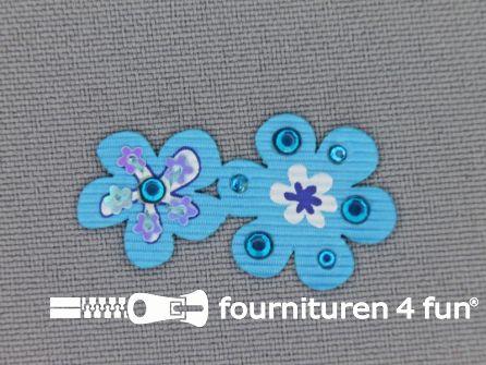 Brocante applicatie 17x32mm bloemen aqua blauw