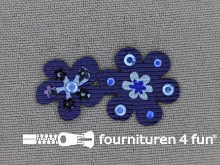 Brocante applicatie 17x32mm bloemen marine blauw