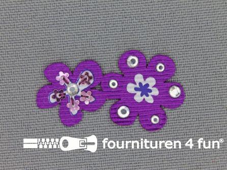 Brocante applicatie 17x32mm bloemen paars