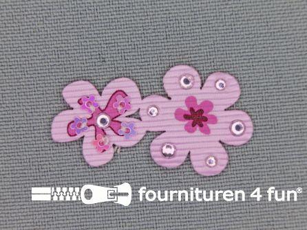 Brocante applicatie 17x32mm bloemen licht roze