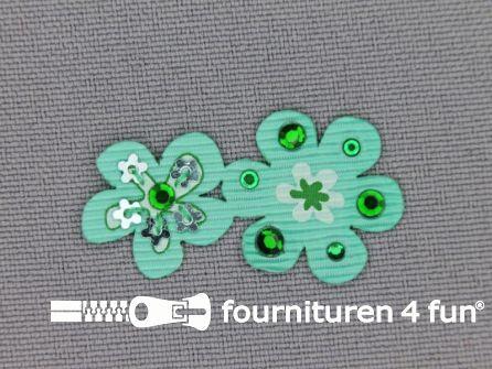 Brocante applicatie 17x32mm bloemen zee groen