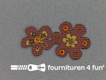 Brocante applicatie 17x32mm bloemen choco bruin
