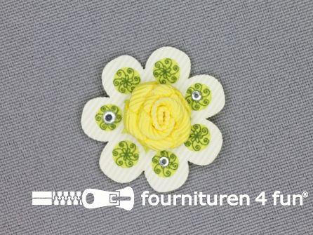 Brocante applicatie 30x30mm bloem geel - lime groen