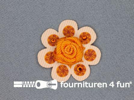 Brocante applicatie 30x30mm bloem oranje - brique