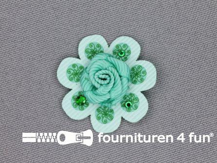 Brocante applicatie 30x30mm bloem mint - zee groen